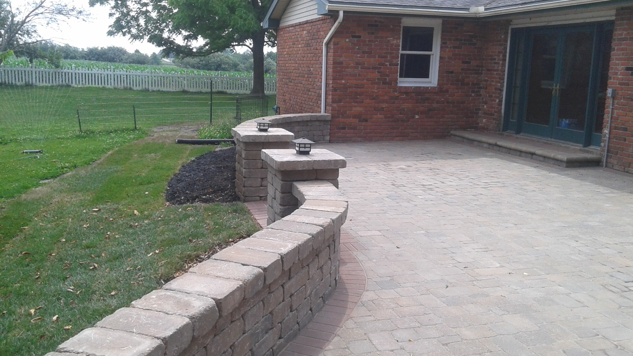 Paver Patio And Sitting Wall Parkville Complete Hardscapes